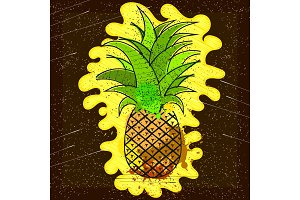 Vector hand drawn pineapple with striped background. Exotic tropical fruit.