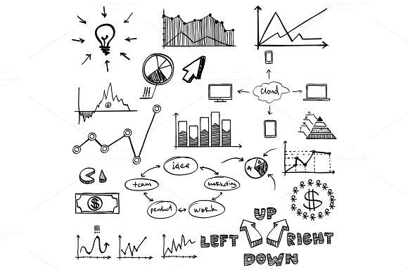 Business Finance Doodle Hand Drawn Elements Concept Graph Chart Pie Arrows Signs