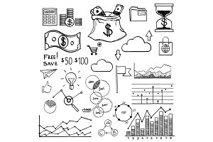 Hand draw doodle elements money and coin icon, chart graph. Concept bank business finance analytics earnings