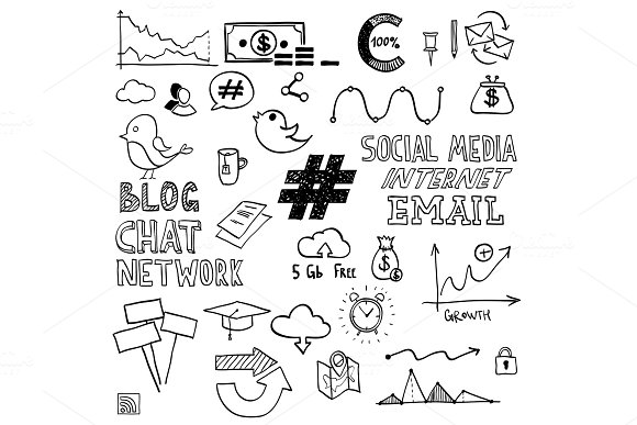 Hand Draw Social Media Sign And Symbol Doodles Elements Concept Tweet Hashtag Internet Communication