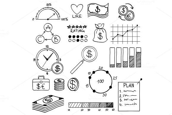 Hand Draw Doodle Elements Money And Coin Icon Chart Graph Concept Bank Business Finance Analytics Earnings