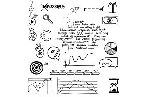 Hand draw social media sign and symbol doodles elements. Concept web internet communication marketing