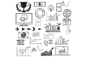 Business, finanse hand draw doodle elements graph chart and other
