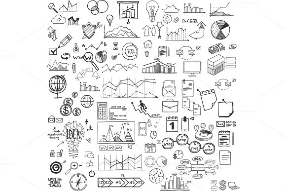 Set Of Web Icons For Business Finance And Communication Marketing Hand Drawn Vector Illustration