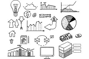 Vector illustration of set of hand drawn business, finance elements