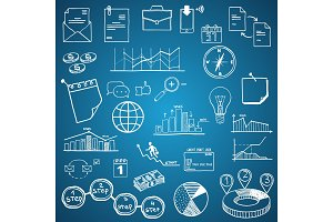 Business and Economy, Finance, Web and Internet doodle hand drawn elements and icons