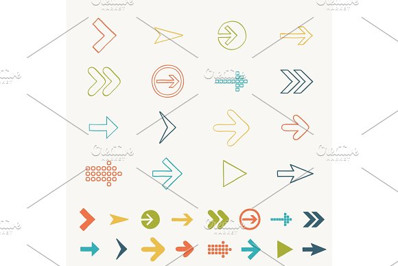 Arrow Sign Icon Set Doodle Hand Draw Vector Illustration Of Web Design Elements