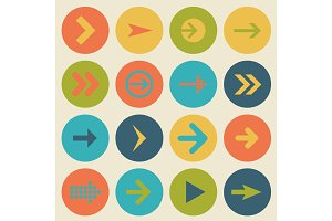 Arrow sign icon set, flat design, vector illustration of web design elements