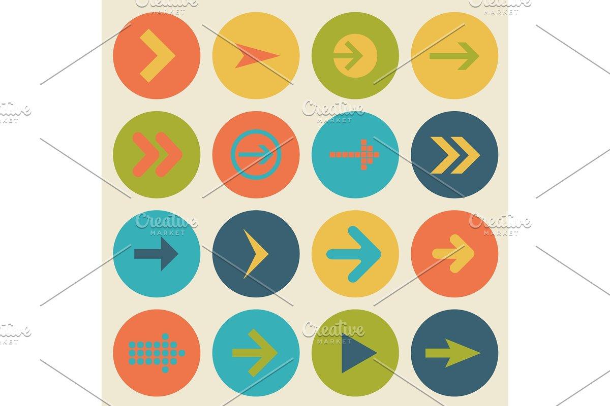 Arrow sign icon set, flat design, vector illustration of web design elements