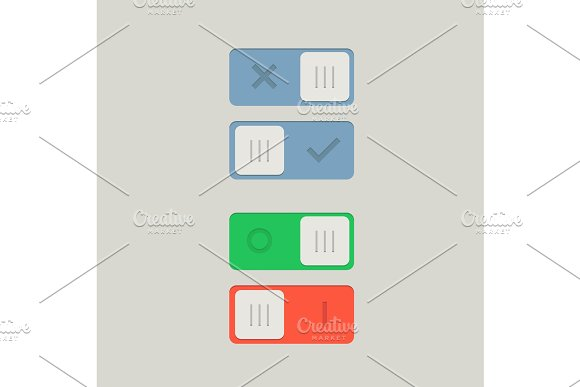 Toggle Switch On And Off Position Button Vector Illustration