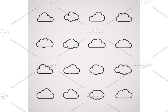Vector cloud icons shapes set  for computing web and app in Illustrations