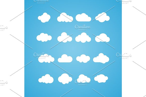 Vector Illustration Of Clouds Collection Concept Computing Web And App Weather