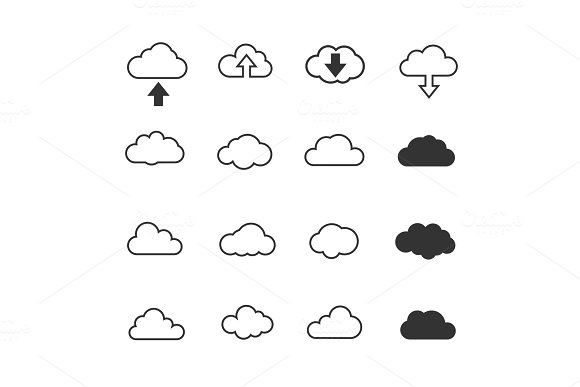Vector illustration, Clouds collection set. Concept - computing web and app, weather in Illustrations