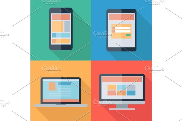 Vector illustration of adaptive web design on electronic devices phone, tablet, notebook, monitor