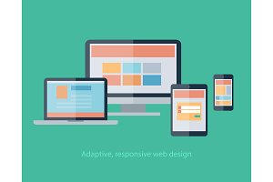 Responsive Web Design on devices notebook, monitor, tablet, smartphone