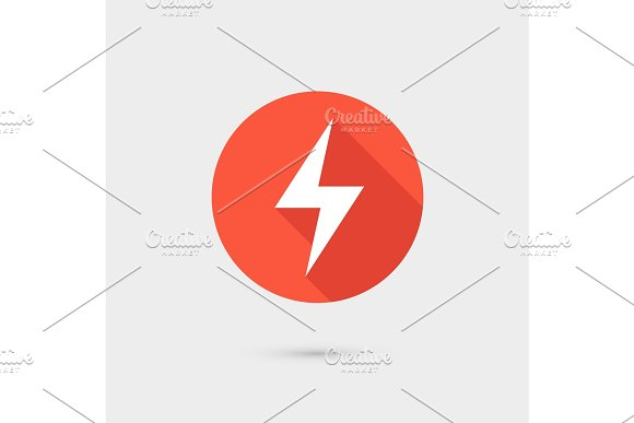 Lightning Icon Red Circle On Gray Background