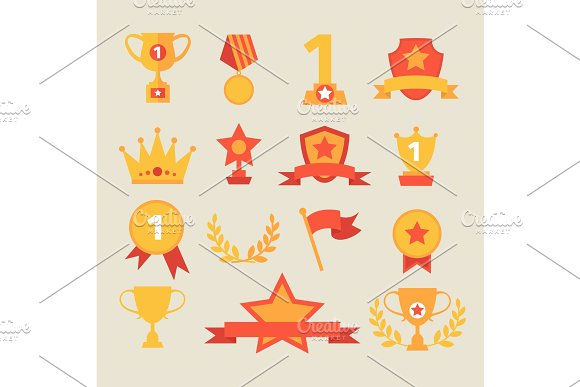 Trophy And Awards Icons Set Vector Illustration