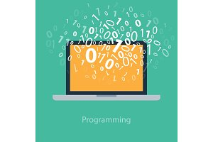 User programming coding binary code on notebook. Icon for web, blog, seo, social media, internet advertising. Flat design