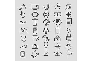 Set of linear hand drawn icons. concept business web media seo marketing engine optimization site.