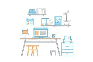 Hand drawn office workspace minimalistic linear style concept work at home, freelance,  programming process designer workplace