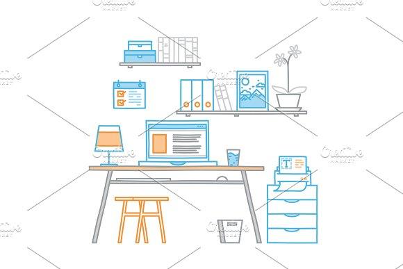 Hand Drawn Office Workspace Minimalistic Linear Style Concept Work At Home Freelance Programming Process Designer Workplace