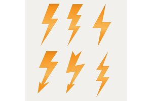Lightning icon flat design long shadows vector illustration
