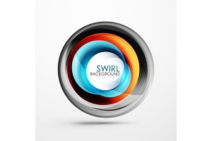 Abstract swirl banner, circle vector abstract background with copy space