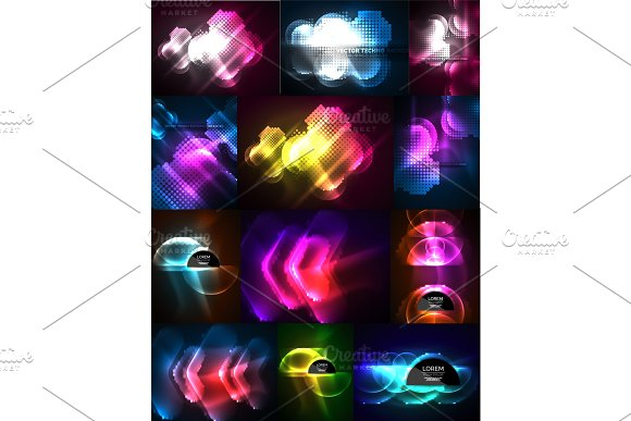 Set Of Neon Glowing Abstract Shapes Backgrounds