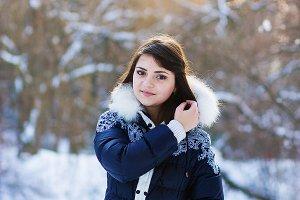 Beautiful girl in blue jacket