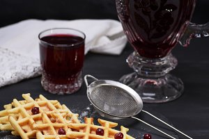 baked waffles and compote