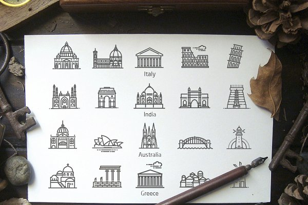 Icons: Tettygreen - 80 landmarks line icons