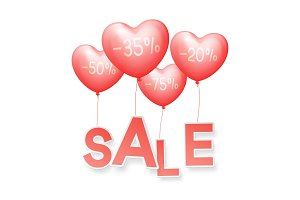 Vector Sale. Design balloons in the form of red hearts, flyers, invitation, posters, brochure, voucher discount