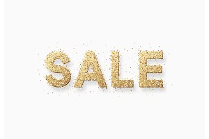 Sale, vector illustration text golden with bright sparkles.