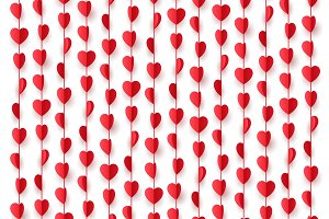 Paper red hearts hanging decorations string.