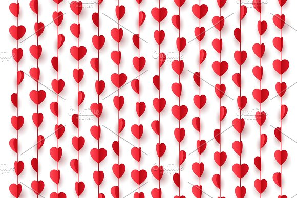 Paper Red Hearts Hanging Decorations String