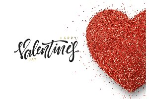 Happy Valentine's Day greeting card design with hearts bright glitter, vector illustrtation