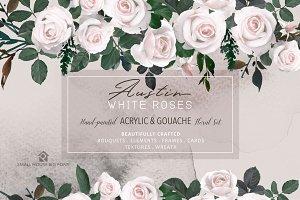 White Austin Roses - Floral Set
