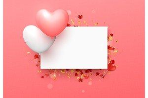 Balloon Hearts design white frame on pink background.