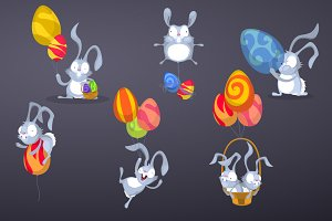 Easter Rabbits with Easter balloons