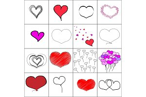 Vector simple illustration hearts set, baloons, embroidery, black and white hand drawn. Seamless pattern.