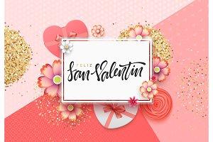 Spanish lettering Feliz San Valentin. Greeting card.