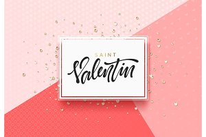 Day of holy valentine, design of a white frame on a pink background a scattering of precious stones