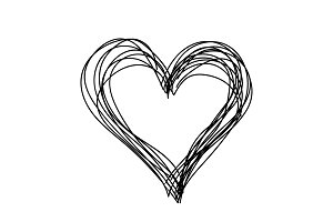 Vector simple heart black and white. Children hand drawn.