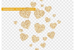 Gold heart bright glitter, isolated with transparent background