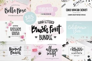 70% OFF Hand Lettered Brush Font Set