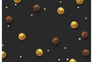 Candies chocolate round in gold foil on dark background