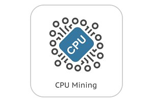 Cryptocurrency CPU Mining Icon.