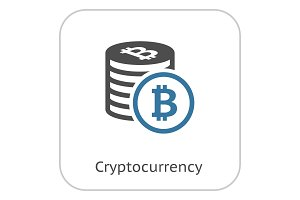 Cryptocurrency Flat Icon.