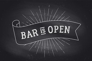 Bar Open. Chalk board