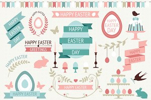 Vector Easter design elements